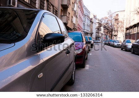 Parked car on Belgrade street - stock photo