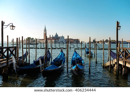 Parked Gondolas In Venice Canal
