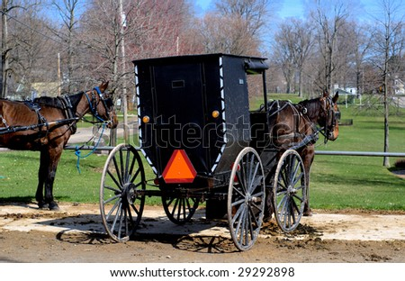 parked horse and buggy - stock photo