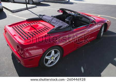 Parked red Ferrari with top down, Ventura, California, USA, 10.18.2013 - stock photo