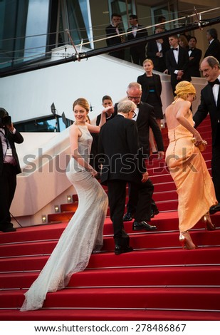 Parker Posey, Woody Allen and Emma Stone attend the 'Irrational Man' premiere during the 68th annual Cannes Film Festival on May 15, 2015 in Cannes, France.