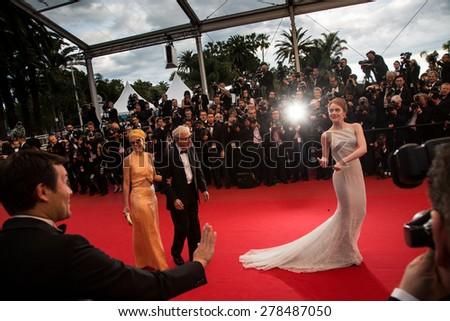 Parker Posey, Woody Allen and Emma Stone attend the 'Irrational Man' premiere during the 68th annual Cannes Film Festival on May 15, 2015 in Cannes, France. - stock photo