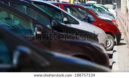 Parking cars in city