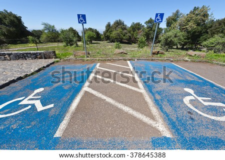 Parking for Disabled People on the Golan Heights in Israel - stock photo
