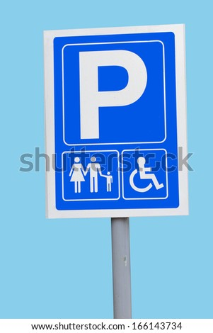 parking for families and disabled - stock photo