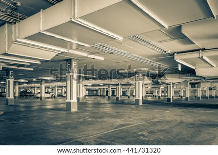 Parking garage interior, industrial building,Empty underground parking background - stock photo