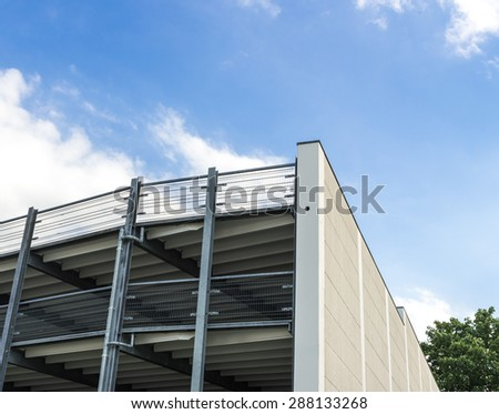 Parking garage of steel construction - stock photo