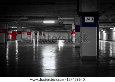 Parking garage underground - stock photo