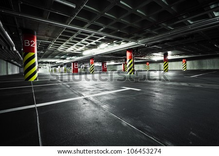 Parking garage underground, industrial interior