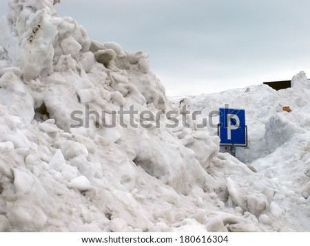 Parking in Winter - stock photo