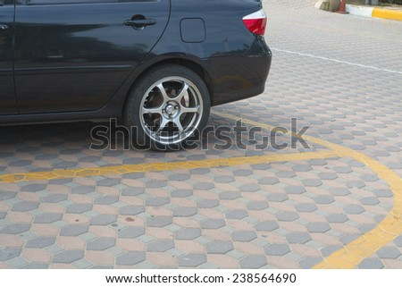 Parking lane outdoor in temple park - stock photo