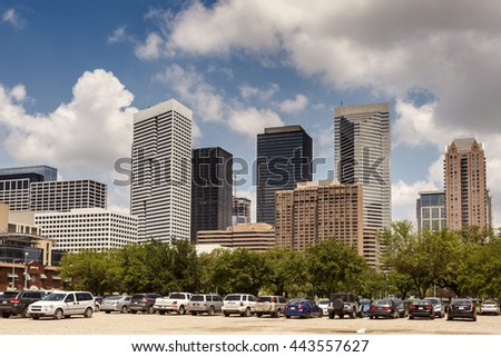 Parking lot in Houston downtown district. Texas, United States