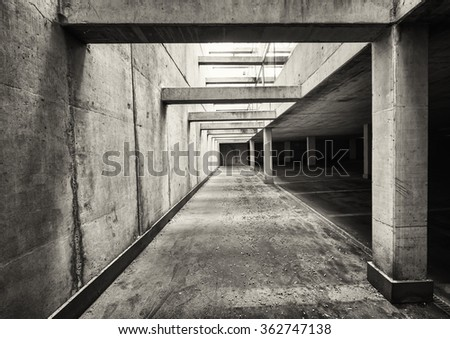 parking lots at a modern parking garage - stock photo