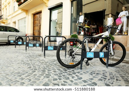 Parking places for bicycles outdoors