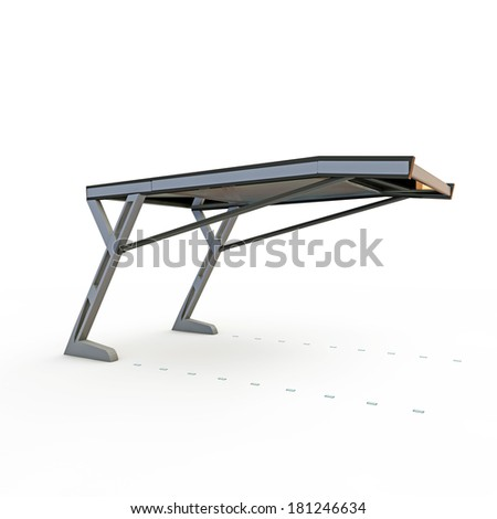 parking shelter project isolated on white background