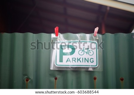 Parking sign for bicycle.