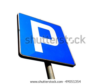 Parking sign isolated on white background - stock photo