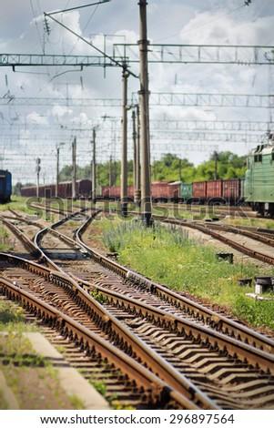 Parking trains on rail freight - stock photo