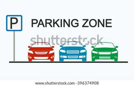 Parking zone sign with car icons. Parking concept in flat style. - stock photo