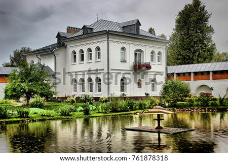 Parks of a pond in a monastery