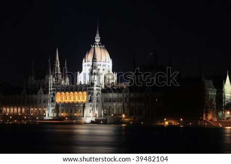 parliament and Danube in Budapest, Hungary. night shot