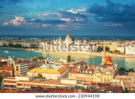 Parliament and river Danube cityscape in Budapest, Hungary. - stock photo