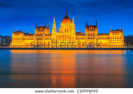Parliament at night,Budapest cityscape,Hungary,Europe - stock photo