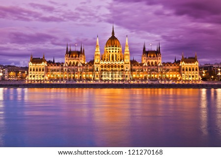 Parliament, Budapest, Hungary at night - stock photo