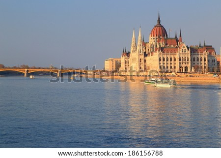 Parliament building and Danube river at sunset, Budapest, Hungary