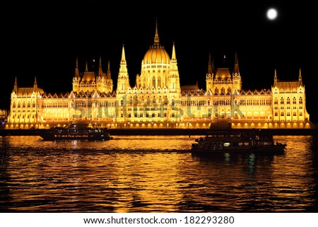 Parliament building at night, Budapest Hungary - stock photo