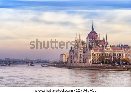 Parliament building, Budapest city, Hungary, on sunrise