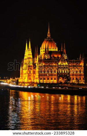 Parliament building in Budapest, Hungary at night