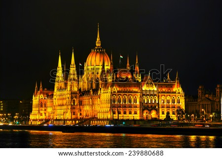 Parliament building in Budapest, Hungary at night - stock photo