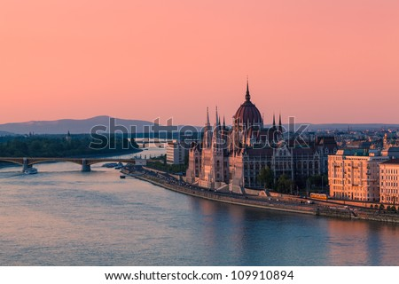Parliament Building in Budapest, Hungary at sunset - stock photo