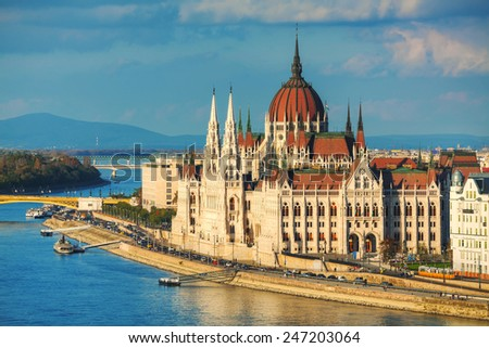 Parliament building in Budapest, Hungary on a cloudy day - stock photo