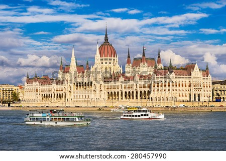 Parliament building in Budapest, Hungary on a sunny day - stock photo