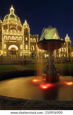 Parliament Building Night, Victoria, BC. The parliament building at night in Victoria, British Columbia, Canada.  - stock photo