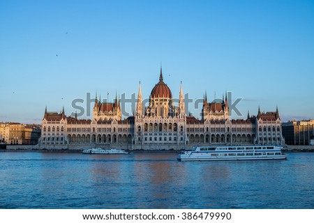 Parliament building of Budapest, Hungary at sunset, frontal view