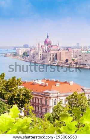 Parliament from Fisherman's Bastion in Budapest - stock photo