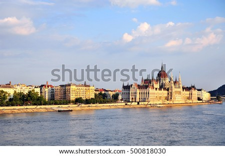 Parliament of Budapest on Danube river, hungarian landscape