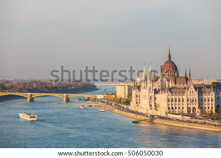 Parliament of Hungary in Budapest with Danube river