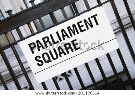 Parliament Square Street Sign, Westminster; London; England; UK - stock photo