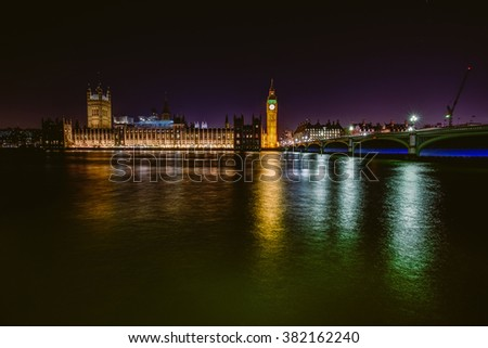 Parliament with river Thames, London, England - stock photo