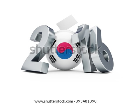 Parliamentary elections in South Korea 3d Illustrations on a white background - stock photo