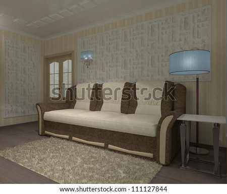 parlor or living-room with big divan and stones on wall - stock photo
