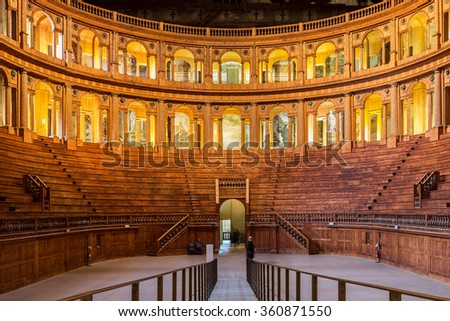 PARMA, ITALY - JANUARY 05, 2016: Historic Baroque-styled Farnese theatre in Parma, Italy. It was built in 1618. - stock photo