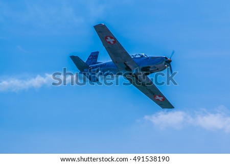 PARMA, ITALY, JUN 21, 2015: Acrobatic airplane perform during the airshow at the Parma Airshow on June 21, 2015.