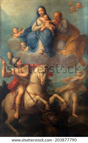 PARMA, ITALY - MAY 01, 2014: Altar painting in Basilica Santa Maria della Steccata. Basilica is a Marian shrine made ??in Parma between 1521 and 1539 and in 2008 elevated to the rank of minor basilica - stock photo