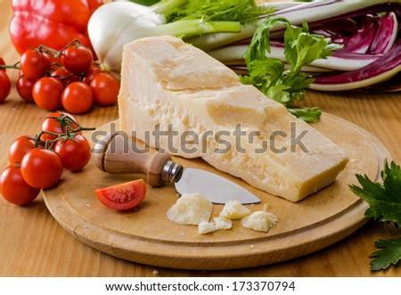 Parmesan cheese, close-up - stock photo