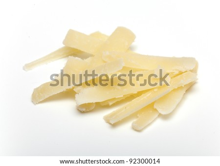 parmesan cheese grated isolated on white - stock photo